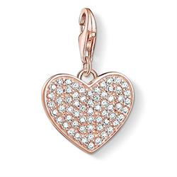 Rose Gold CZ Pave Heart Charm