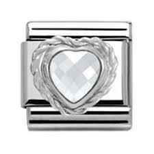 CZ Faceted Heart Charm