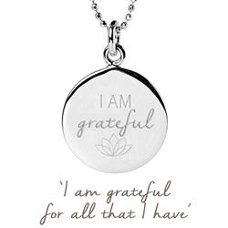 I am Grateful Disc Necklace in Sterling Silver
