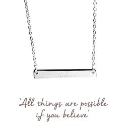 Believe Mantra Bar Necklace in Silver