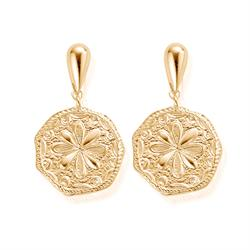 Ariella Gold Flower Coin Earrings