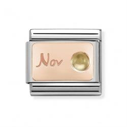 Rose Gold November Citrine Charm