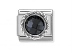 Buy Nomination Silver Black Round CZ