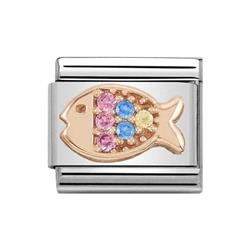 Buy Nomination Classic Rose Gold Symbols Multi-Coloured Cubic Zirconia Fish Charm