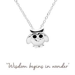 Mantra Owl Necklace in Silver