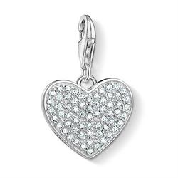 Silver CZ Pave Heart Charm