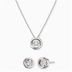 Silver Twinkle Necklace & Earrings Set