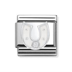Buy Nomination White Enamel CZ Horseshoe