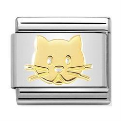 Gold Cat Face Charm by Nomination