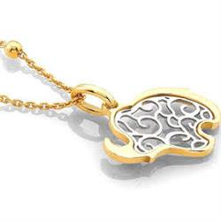 Jasmine Yellow Gold and Silver Elephant Necklace