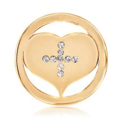 Gold Cross My Heart Coin 23mm