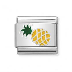 Silver and Enamel Pineapple Charm