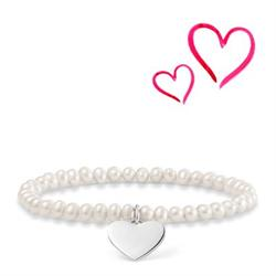 Fresh Water Pearl Heart Engravable Bracelet16.5cm