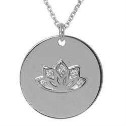Sparkling Lotus myMantra Necklace in Sterling Silver