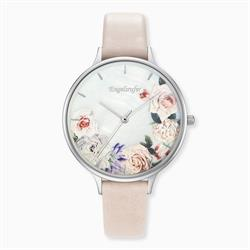 Flowers Watch in Silver with a Beige Leather Strap