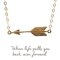 Arrow Mantra Necklace in Gold