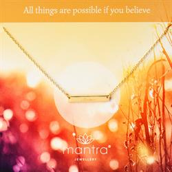 Believe Mantra Bar Necklace in Gold