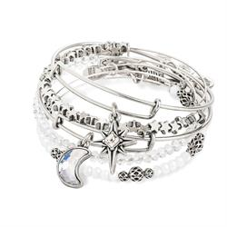 Alex and Ani Moon and Star Set of 5 in Rafaelian Silver