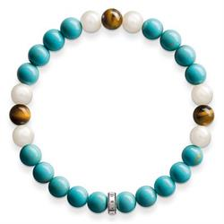Turquoise, Tiger's Eye and Pearl Bracelet 15.5cm