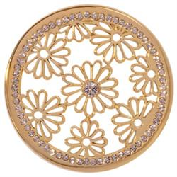 Gold Sparkling Daisies Coin 43mm