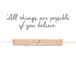Believe Bar Bracelet in Rose Gold