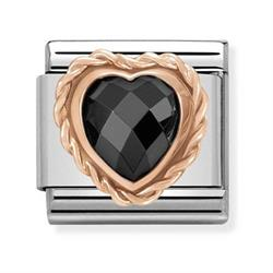 Rose Gold Black CZ Heart Charm Nomination