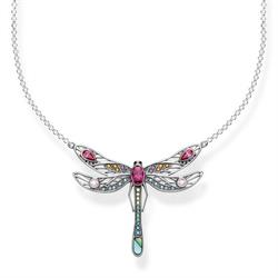 Large Silver Dragonfly Multistone Necklace