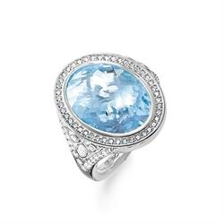 Blue Oval Cocktail Ring Size 52