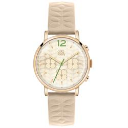 Orla Kiely Frankie Leather Watch, Cream and Green