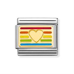 Nomination Enamel Rainbow Heart Flag Charm