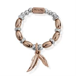 Buy ChloBo Rose Gold Silver Dainty Feather Ring m
