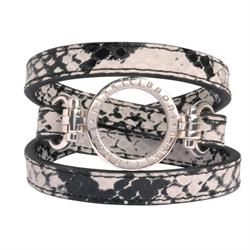 Snakeskin Silver Leather Wrap Bracelet