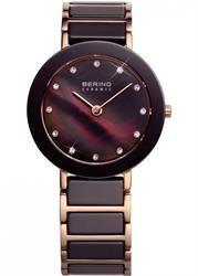 Bering Brown Mother of Pearl Ceramic Watch