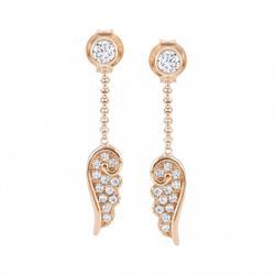 Rose Gold CZ Angel Wind Drop Earrings