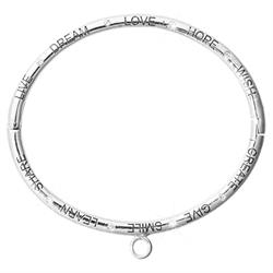 Silver Good Vibes Charm Bangle Small