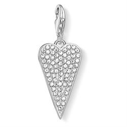 Silver CZ Elongated Heart Charm