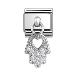 Hanging CZ Silver Hand of Fatima