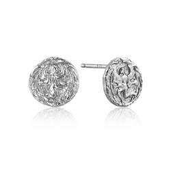 Coins Silver Textured Earrings