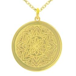 Love Mandala Yellow Gold Personalised Necklace 80cm
