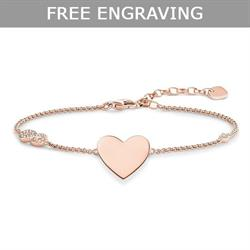Rose Gold CZ Infinity Heart Love Bridge Bracelet 19.5cm