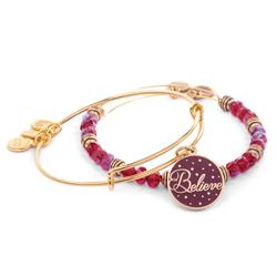 Alex and Ani Believe Wine Colour Infusion Set in Shiny Gold