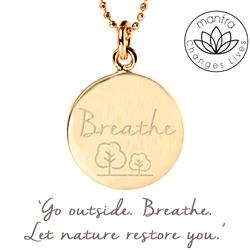 Mantra Breathe Charity Necklace in Gold on card