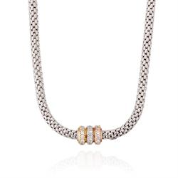 Silver Popcorn Necklace with CZ clasp