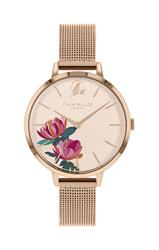 Peony Watch, Rose Gold Mesh