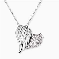Silver CZ Heart Wing Necklace