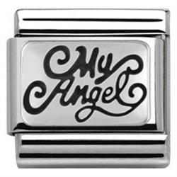 Silver 'My Angel' Plaque Charm