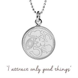Mantra Attract Good Things Necklace in Silver on card
