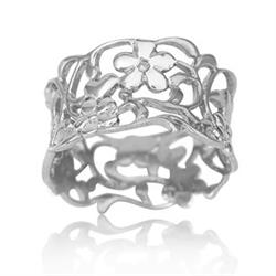 Wide Foliage Ring Size P