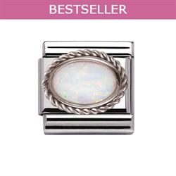 White Opal and Silver Frill Oval Stone