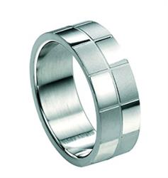 Stainless Steel Checked Ring Size 60